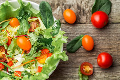 Salad with fresh vegetables - tomatoes, carrots, bell peppers and mixed greens - arugula, mesclun, mache. Stock Photography