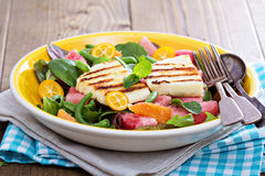 Salad with fresh watermelon and haloumi cheese Stock Photo