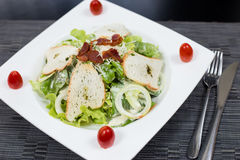 Salad fried bacon. With bread Royalty Free Stock Photos