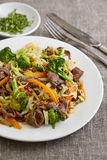 Salad with fried beef and vegetables Stock Image