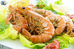 Salad with Fried King Prawns Stock Photography
