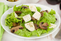 Salad fried mushrooms with cheese Stock Photos