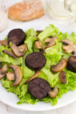 Salad with fried sausages. And portobello Stock Photos