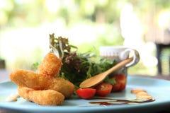 Salad with fried shrimp Royalty Free Stock Image