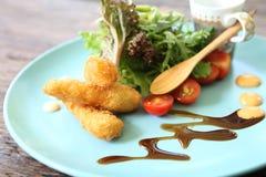Salad with fried shrimp Stock Image