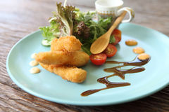 Salad with fried shrimp Stock Photos