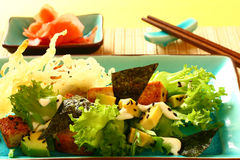 Salad with fried tofu Royalty Free Stock Photo