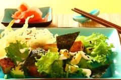 Salad with fried tofu Royalty Free Stock Photo