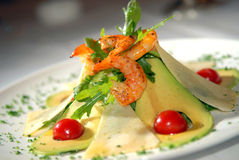 Salad From Seafood With Avocado Stock Photo