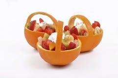 Salad and fruit basket Royalty Free Stock Photo