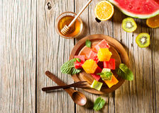 Salad from fruit, top view Stock Photography