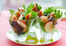 Salad with fruits and cheese Royalty Free Stock Images