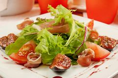 Salad with gammon and figs Royalty Free Stock Images
