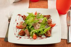 Salad with gammon and figs Royalty Free Stock Photography