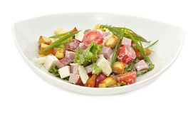 Salad with gammon in white plate Stock Photography