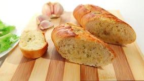Salad and garlic bread stock footage