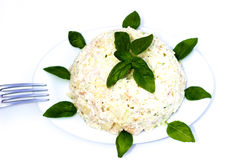Salad garnished with basil. Stock Images