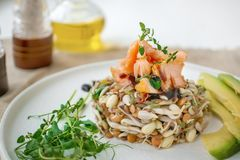 Salad of germinated seeds, trout and avocado. Macrobiotic food concept.  stock photo