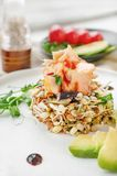 Salad of germinated seeds, trout and avocado. Macrobiotic food concept.  stock images