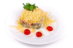 Salad of gherkins, tomatoes and cheese royalty free stock photos