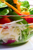Salad in glass bowl. Fresh salad in glass bowl Stock Photography