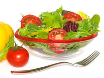 Salad In Glass Bowl Stock Image