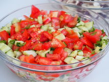 Salad in a glass bowl Stock Photo