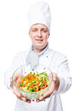 Salad in a glass bowl holding a chef salad royalty free stock images