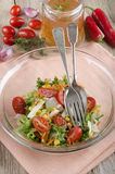 Salad in a glass bowl with vinaigrette Stock Images