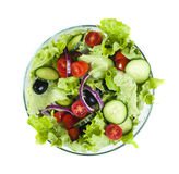 Salad in a glass bowl on a white background Stock Photo