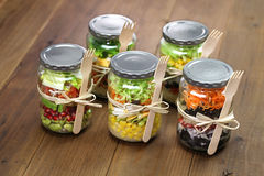 Salad in glass jar Royalty Free Stock Images