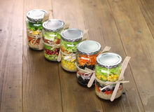 Salad in glass jar Royalty Free Stock Photo