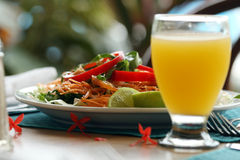 Salad and glass juice Royalty Free Stock Photo