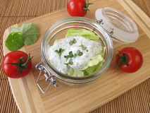 Salad in a glass with yogurt dressing Royalty Free Stock Photo