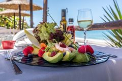 Salad on glassplate stock photos