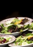 Salad is good. Salad on plates during a wedding or function banquet event royalty free stock photo