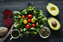 Salad gourmet healthy organic avocado beetroot and tomatoes Stock Images