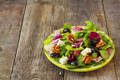 Salad with grapes, herbs, walnuts and blue cheese Royalty Free Stock Image