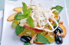 Salad with grapes and nectarines Royalty Free Stock Images