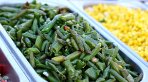 Salad from  green asparagus beans on try Stock Photography