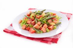 Salad with green bean,potato and sausage Royalty Free Stock Image