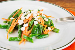 Salad of Green Beans, Carrots, Yogurt and Cottage Cheese Stock Image
