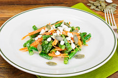 Salad of Green Beans, Carrots, Yogurt and Cottage Cheese Stock Photography