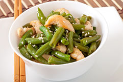 Salad of green beans with chicken Stock Image