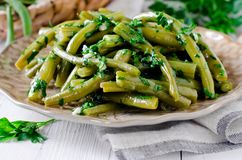 Salad of green beans with garlic, parsley Royalty Free Stock Photography