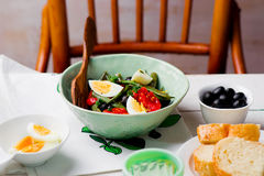 Salad from green beans with olives and egg Royalty Free Stock Photography