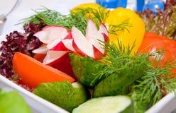 Salad of green fresh vegetables. In restaurant Stock Photo