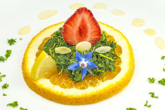 Salad of green kale with strawberries Stock Photo