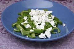 Salad of green Paprika. A salad of green paprika with feta cheese Stock Photo