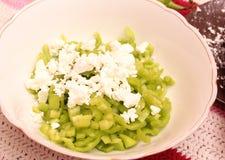 Salad of green paprika. A salad of green paprika with feta cheese Royalty Free Stock Photos